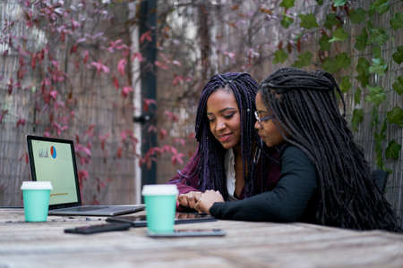 Two African American women sitting on a terrace outside working on the laptop. Concept of teamwork.
