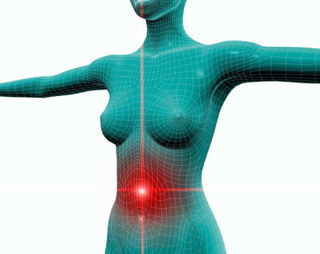 3d image of a woman with stomach ache Stock Photo - 7086310