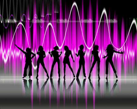 pretty woman silhouette dancing