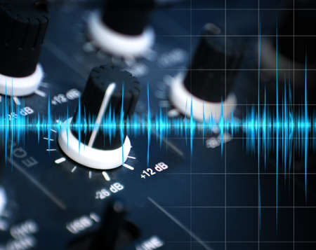 mixing: illustration of mixing and sound waves Stock Photo