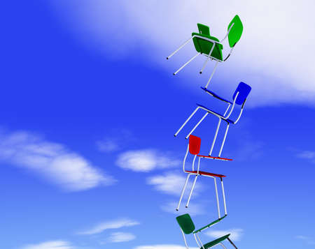 peace risk: chairs and balance against the sky