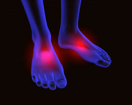 bones of the foot: 3d image of feet with red pain