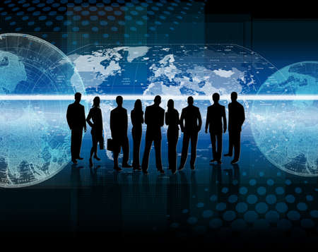 bussines people: Illustration of a bussines silhouettes with maps and world maps in background Stock Photo