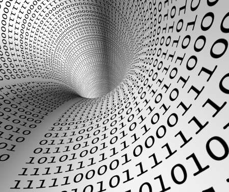 binary data: Abstract image of tunnel with binary language