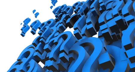 questionable request: 3d image of hundreds of blue question mark Stock Photo