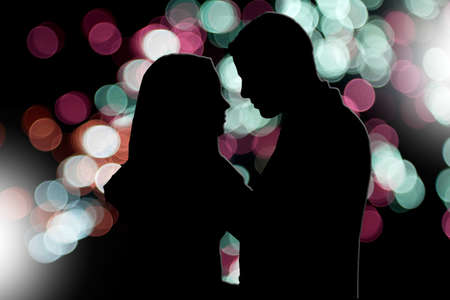 nigth: Illustration of couple silhouette in a town