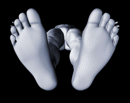 barefeet: Mesh render of a sole of a man in a black background