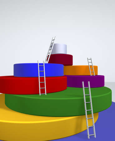obstacle course: 3d image concept of overcoming