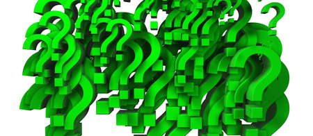 3d image of many green questions photo