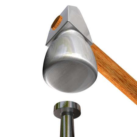 3d image of hammer and nail photo