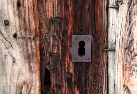 Old lock and wood door photo