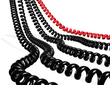 Several telephone cables red and black isolated in white Stock Photo - 7496568