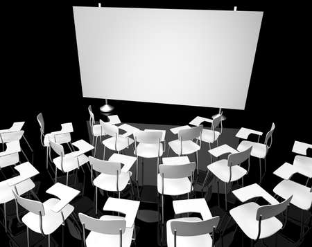 lecture hall: Empty black classroom with white classroom chairs Stock Photo