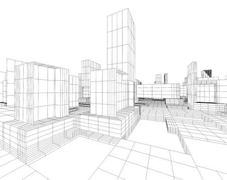 3d image of city map with skyscraper and street