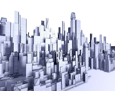 3d illustration of empty city blueprint Stock Illustration - 8141981