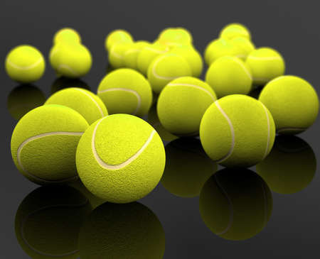 3d image of several tennis ball isolated in black background photo