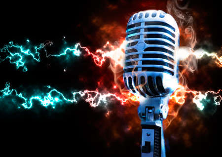 Music illustration with vintage microphone and explosion with fire and ray illustration