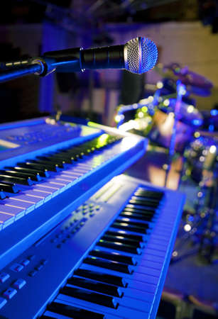 Close up image of microphone and keys in live photo