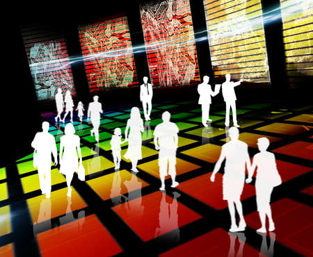 3d illustration virtual city with people illustration