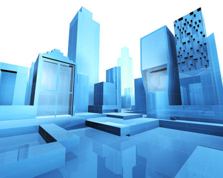 3d illustration of empty city blueprint Stock Illustration - 8480325