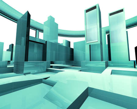 3d illustration of empty city blueprint illustration