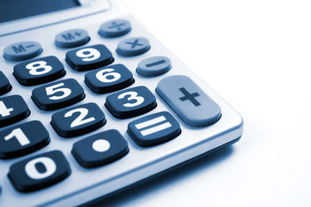 Close up image of Calculator isolated in white photo