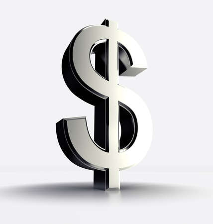 dollar icon: 3D image of a dollar symbol isolated in white Stock Photo