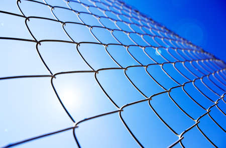 Abstract background with metal gate and sunshine photo
