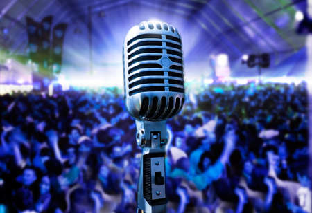 Illustration of live music with vintage microphone and public
