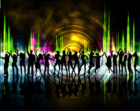 black people dancing: Silhouettes of boys and girls dancing with background color Stock Photo