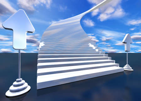 nirvana: 3d image of stairway to heaven with arrows Stock Photo