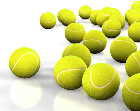 3d image of several tennis ball isolated in white photo
