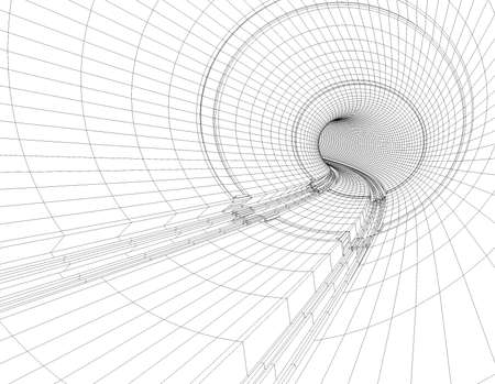 Illustration of drawings of a tunnel blueprint Stock Photo