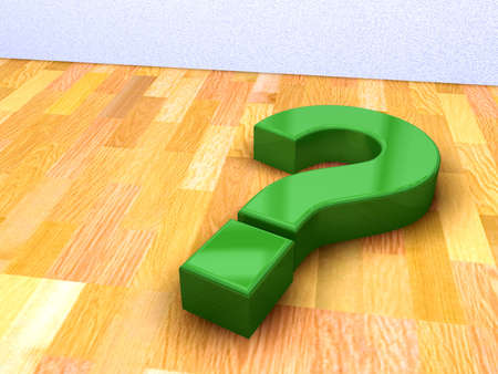 3d image of green question mark on a wood floor photo