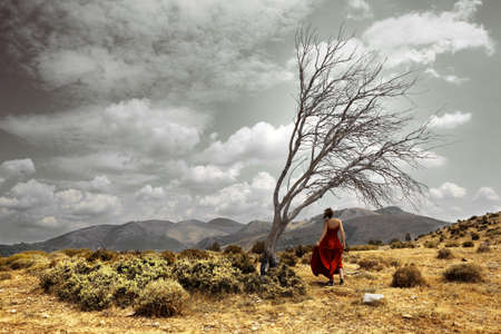 Dramatic landscape with girl and tree photo