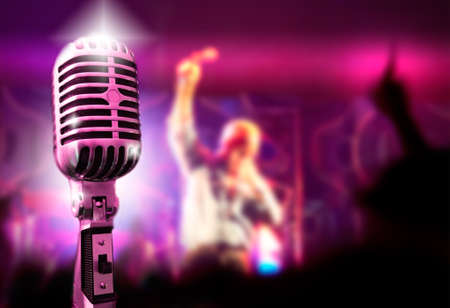 Music background with vintage microphone and concert Stock Photo