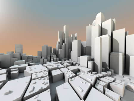 3D city landscape with skyscrapers and sunset light photo