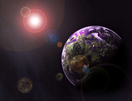 3d illustration of space, stars, earth and planets Stock Illustration - 9301470