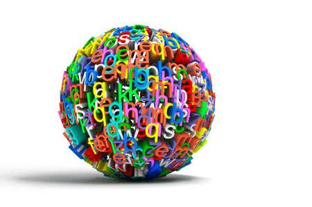 numbers abstract: ilustraci�n conceptual 3D con letras de colores bola aislado en blanco