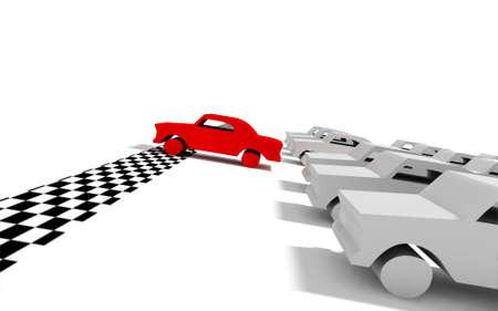 Imagen 3D de auto de carrera y auto rojo llegando a la meta Foto de archivo - 9301225