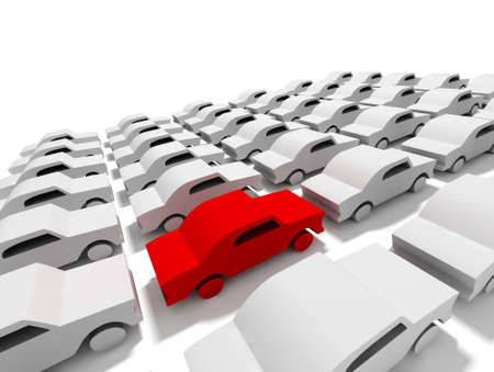 new car lot: 3D conceptual illustration of car parking with a red car