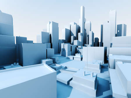 3D image of city landscape with skyscraper photo