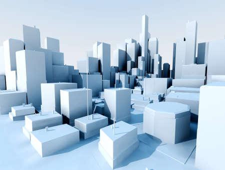 3D image of city landscape with skyscraper Stockfoto