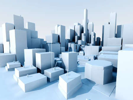 highrise: 3D image of city landscape with skyscraper Stock Photo