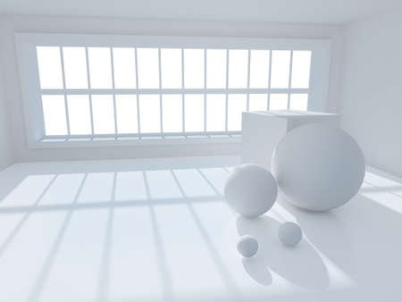 Surreal 3d image of interior with geometric objects photo
