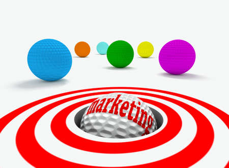 Conceptual 3d image of marketing with golf balls photo