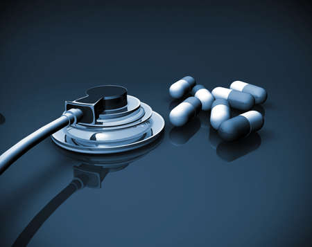 stethoscope and pills Stock Photo - 9301233