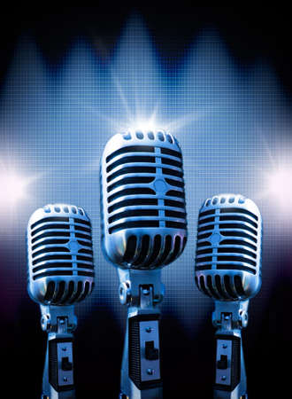 Background musical with retro microphone Stockfoto