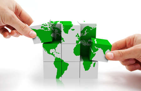 symbol tourism: 3d image of conceptual cube world map Stock Photo