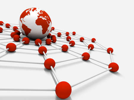 connected world: Concept of internet and networking with globe world map